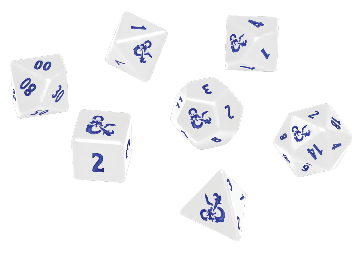 Heavy Metal Poly White and Blue Dice Set D/&D RPG Icewind Dale